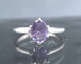 Oval Alexandrite Silver Ring Color Change Size 5 6 7 8 Sterling Jewelry Birthday June Birthstone Solitaire Engagement Wedding Promise R45