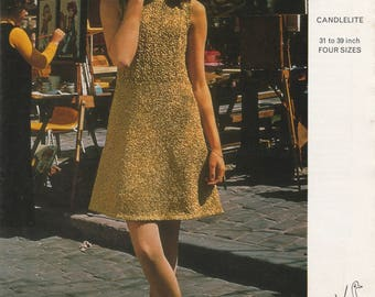 Metallic Mini Dress And Crochet Hat | Vintage Knitting Pattern | 4 Sizes 31 To 39 Inch | Emu 2970 Candlelite