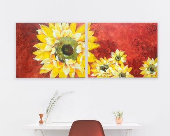 Coppia dipinti girasole moderni. Quadri con girasole giallo.