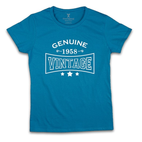 Genuine 1958 Vintage ladies t-shirt an ideal birthday gift for a wife, sister daugter, friend or aunt who was born in 1958 , Utter Apparel