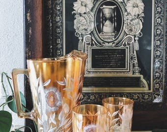 Vintage Pitcher and Drinking Glasses Set