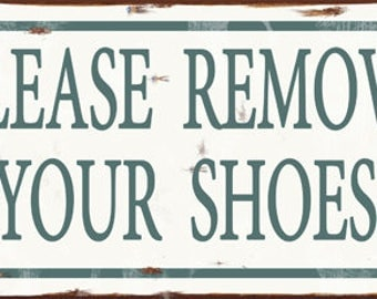 Please Remove Your Shoes Metal Sign, Starfish, Contemporary Beach Sign, Pool Décor