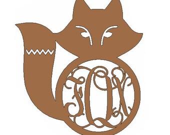 Unfinished Custom Fox Monogram Mdf Cutout
