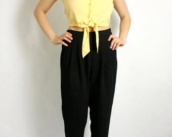 Vintage 90's Yellow Blouse Crop Top Midriff,  Tied Shirt Button Up Summer - Small