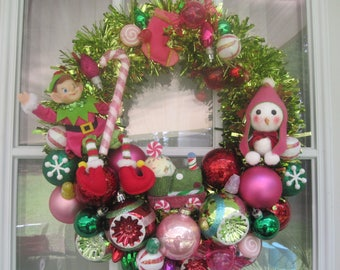 Kitsch Pink and Lime Candy Chistmas Wreath