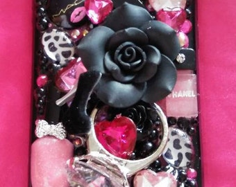3D Black Pink Leopard Bling iPhone Only 6 6s 7 and Plus New BUMPER Case Cover