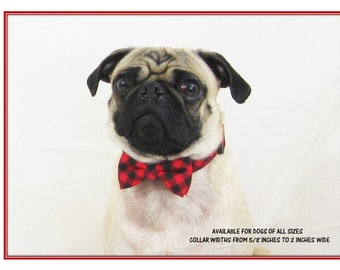 Dog Bow Tie Collar~Red Buffalo Check Bow Tie~Red Dog Collar~Dog Bow Tie~Bow Tie Dog Collar~Wedding Dog Attire~Dog Ring Bearer Bow Tie~