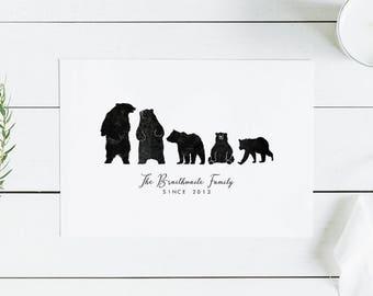 BEAR FAMILY -  bear family print, personalised bear family print, black bears family
