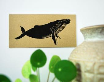 Kaart Bultrug, Karte Buckelwal, Card Humpback whale, Print, Afdruk,