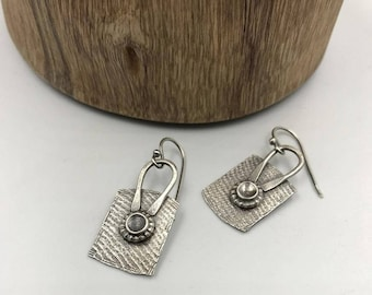 Rustic Silver Earrings, Textured Dangle Earrings, Hammered Silver Earrings, oxidized sterling silver, Handmade Dangle Earrings