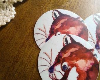 Red Panda Face Stickers | 2x2 Circle Sticker | Vinyl Sticker | Stationary/Sticker | Red Panda