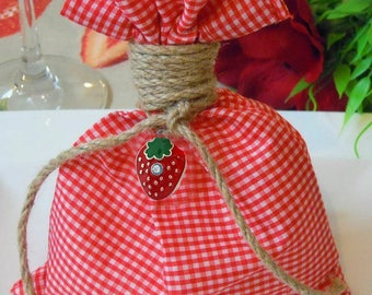 Strawberry Favor Bags Greek Christening Bombonieres Red Plaid Baptism Favor Bags Baby Shower Gift Summer Favours Party Favors Candy Bags