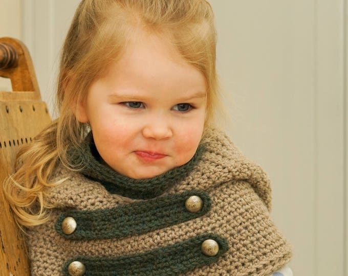 CROCHET PATTERN hooded cowl Cole with inner cowl and straps (baby, toddler, child sizes)