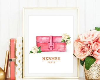 Fashion Illustration. Hermes Print. Hermes Poster. Fashion Print. Chanel Print. Watercolor artwork. Fashion Illustration. Modern Home Décor.