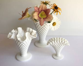 """Vintage 1950s White Hobnail Milk Glass Vase Set of 3. Trumpet Shaped Flower Vases 7"""" & 5"""" and One Fan Shape. Crimped and Ruffled Edge."""