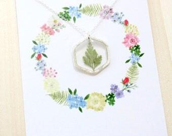 Fern Silver Hexagon Pressed Flower Necklace