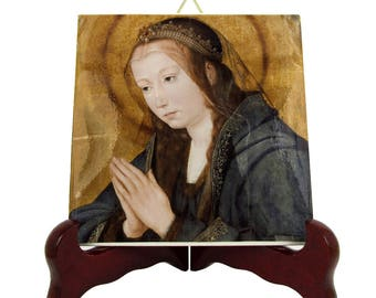 Religious art - Blessed Virgin Mary in Adoration - religious icon on ceramic tile - art from Italy - Virgin Mary art - Virgin Mary icons