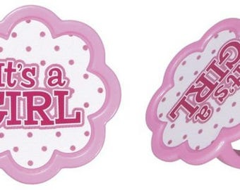 It's A Girl Baby Shower Cupcake Topper Rings - Set of 12