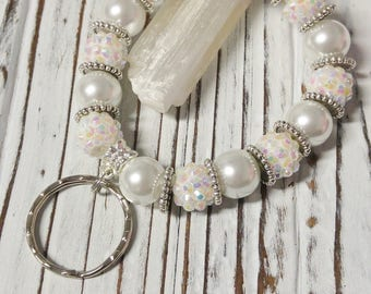 Key Chain Bracelet, Beaded Key Chain, Bracelet Keychain, Beaded Keychain Bracelet