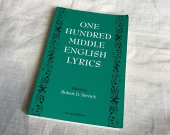 Vintage Book One Hundred Middle English Lyrics Edited By Robert D. Stevick Paperback 1994 Medieval Renaissance Songs Music