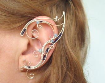 Pair of elven ear cuffs Cosmic blues