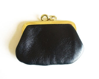 Vintage coin purse with clasp, small black leather money purse