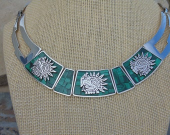 Enrique Ledesma ~ Vintage Mexican Sterling Silver and Green Malachite Stone Aztec Eagle Warrior Necklace