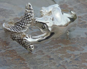 D'Molina ~ Heavy Unique Mexican Sterling Silver Bear Catching Fish Cuff Bracelet - 55 Grams