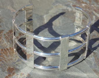 Mexican Sterling Silver Wide Triple Band Cuff Bracelet - 35 Grams