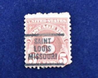 Postage Due Stamp U.S. 5 cent Red Used St. Louis, MO