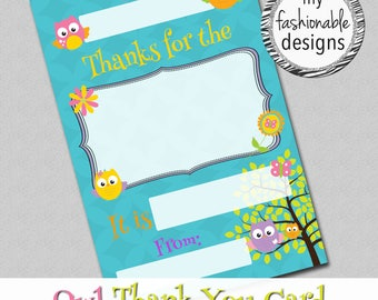 "Owl Thank You Card, Kids Card, Instant Download, 4x6"" JPG,"