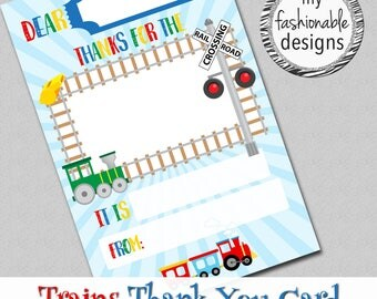 """Trains Thank You Card, Kids Card, Instant Download, 4x6"""" JPG,"""