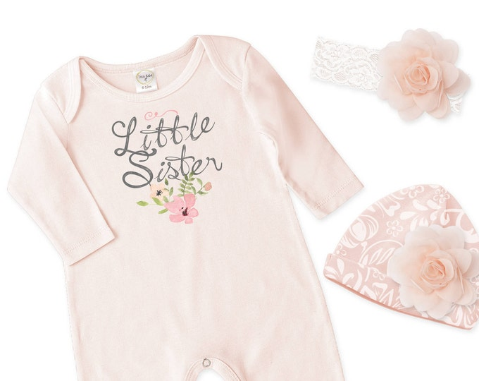 Little Sister Newborn Girl Coming Home Outfit, Newborn Girl Outfit, Baby Girl Take Home Romper, Baby Outfit Tesababe RH810BH000238