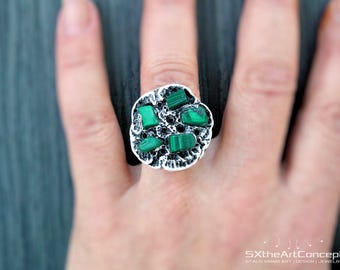 Shipping Included • Malachite ring, hand sculpted clay ring, protection ring, fantasy jewelry, wearable art, clay gemstone ring, money ring