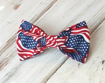American Flag, Patriotic Dog Bow Tie, pet bow tie, collar bow tie, wedding bow tie