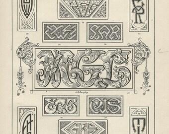 monograms engraving bergling 1920 calligraphy download