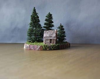 Miniature Cabin Diorama, Forest Landscape, Miniature House, Clay Sculpture, Rustic Cabin, Miniature Clay House, Miniature Diorama