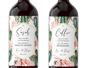Set of Bridesmaid Wine Labels / Will you be my Maid of Honor Gift / Bridesmaid Proposal Idea / Cactus Bridal Party Gift Idea / Boho Wedding