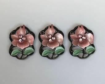 Pink Floral Slider Bead, Flower Connector, Antique Brass Connector, Pink Flower Connector, 3PC