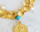 Bracelet - St James of Compostela CAMINO Bracelet - 18K Gold Vermeil, Freshwater Pearls & Turquoise