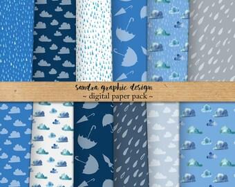 Rain digital paper, rain pattern, rain background, blue digital paper (1271)