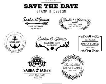 Save the Date Custom Rubber Stamp (Timber) with a Design from our Templates (Your Text)