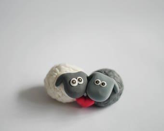 Valentine's Day Black and White Sheep