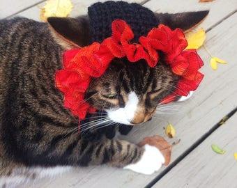 Thanksgiving Cat Hat Crochet Small Dog Hat Unique Handmade Black Orange Pet Accessories