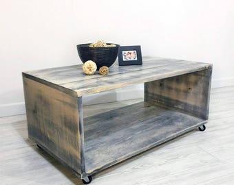 Caster Wheel Coffee Table U2022 Rustic Coffee Table U2022 Shabby Chic Coffee Table  U2022 Farmhouse Part 65