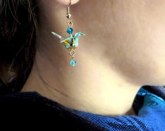 Blue Crane origami earrings