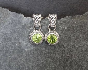 Peridot Earrings, Peridot Studs, Silver and Peridot, August Birthstone, Birthstone Jewellery, Silver Filigree, Sterling Silver