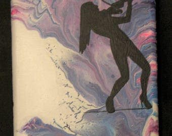Original Acrylic Painting, Woman Playing Violin, Shadow Art Paint Pour