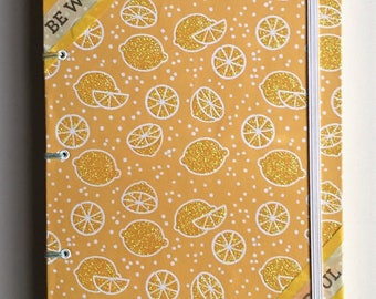 When Life Gives you Lemons, Be Wonderful Handmade Journal | Yellow Glitter Coptic Stitch Lay Flat Journal | Inspiration and Motivation