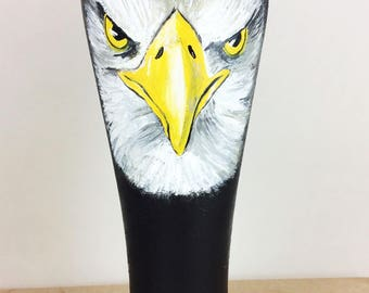 Pilsner Glass, Pilsner glasses, Custom Beer glass, Beer gift, Beer glass, Craft beer, Custom Wedding Gift, Eagle Art, Bald Eagle, Etsy gift